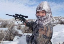 Child hunting in the snow