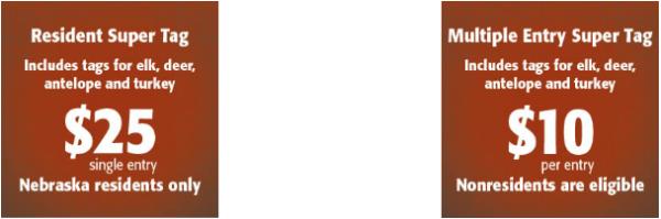 NEBRASKA MULTI-SPECIES $10 LOTTERY TAGS